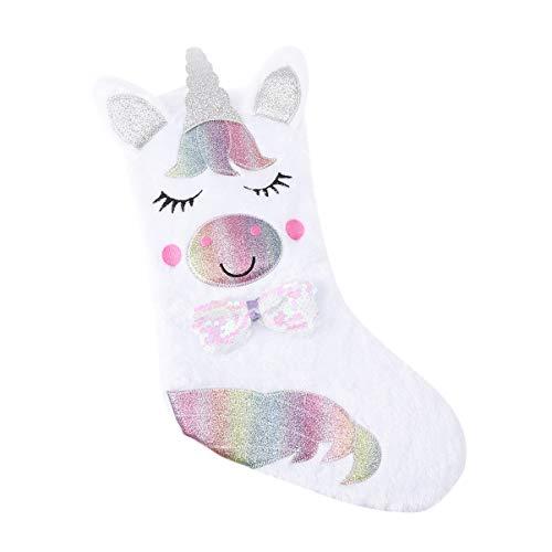 LIOOBO Unicornio calcetín de Navidad Regalo Colgante calcetín Bolsas Decoraciones Adornos sin luz...