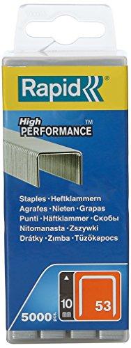 Rapid, 40303085, Agrafes en fil fin N°53, Longueur 10mm, 5000 pièces, Pour le textile et la décoration, Fil galvanisé, Haute performance