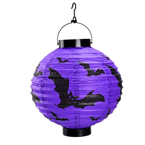 MonLook LED Papier Kürbis Spinne Fledermaus Hängende Laterne Lampe Halloween-Party Dekor Vorräte - Lila (Fledermaus Halloween Lichter Lila)