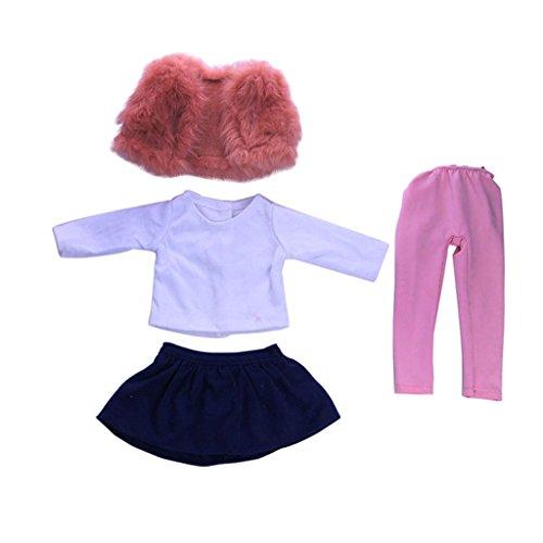 Homyl 4 pcs Puppe T-Shirt, Minirock, Hosen, Weste Puppenkleidung für 18 Zoll American Girl Puppe (18-zoll-puppe T-shirt)