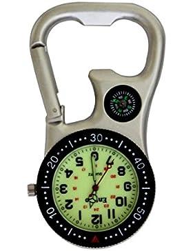 Entino Marke Silber Clip-on Karabiner mit leuchtenden Gesicht FOB Uhr mit Kompass und Flaschenöffner für Ärzte...