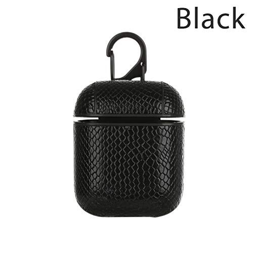 Neue Art und Weise Schlange-Druck-Leder-Abdeckungs-Haut-Kasten-Schutz Für AirPods Kopfhörer mit Haken Weiche Coque, schwarz -
