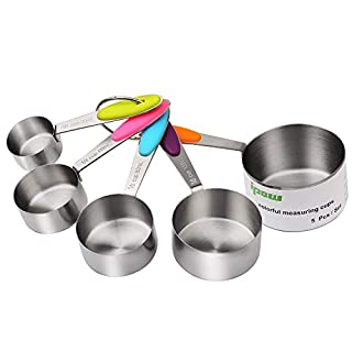 ipow Stainless Steel Set of 5 American Kitchen Cooking Baking Measuring Cups Measuring Spoon with Silicone Handle