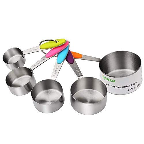 IPOW Verdickter Griff 5er Set von 304 Edelstahl Messbecher Messlöffel Amerikanische Cups mit Silikon Griff, Multifunktions für Küche Kochen Backen (1 5 Cup Messbecher)