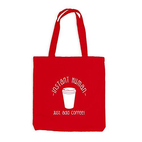 Jutebeutel - Just Coffee Human - Fun Work Office Kaffee Rot