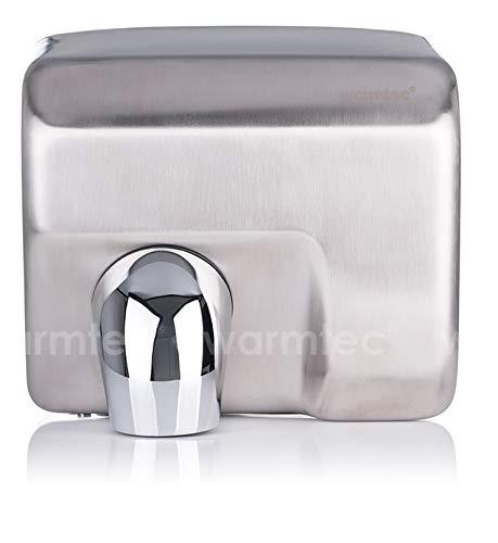 WARMTEC Elektro Handtrockner Händetrockner 2500W Edelstahl Matt Wandmontage Händefön Toilette