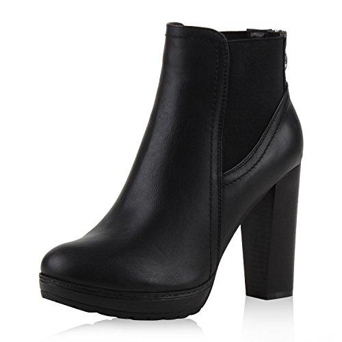 SCARPE VITA Damen Ankle Boots Plateau Stiefeletten Zipper Holzoptikabsatz 152626 Schwarz Zipper 38 -