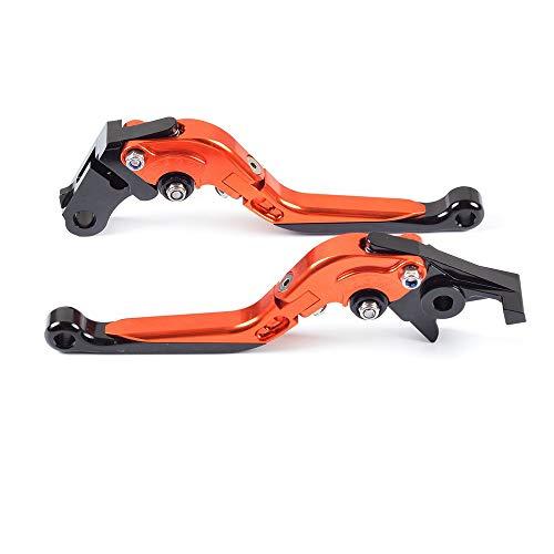 ZZYE Bremshebel, 1 Paar Adjustment Folding CNC Kurzbremskupplungshebel Kompatibel mit Honda CB1100 / GIO Sonder 2013-2017, CB1300 / ABS 2003-2010,Orange