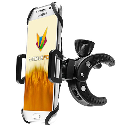 Mobilefox Fahrrad Handyhalterung Lenkradhalterung Gummibänder 360° für Samsung Galaxy S9/S8/S7/S6/S5/S4/S3/Edge/mini Schwarz