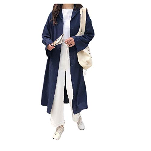 Navy Blue Trench Coat (CuteRose Women's Notch Collar Curvy Strappy Baggy Trench Coat Jacket Clothes Navy Blue XL)