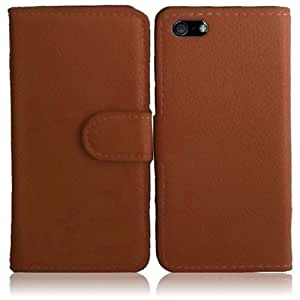 HR Wireless Synthetic Leather Wallet Carrying Case with Snap for iPhone 5/5S - Retail Packaging - Brown