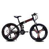 YBCN Vélo de Montagne Pliant, Freins à Disque à Absorption des Chocs à l'avant et à l'arrière à Vitesse Variable à Vitesse Variable de 26 Pouces et à Vitesse Variable, Hommes