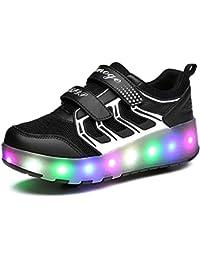 Zapatillas con Ruedas,Niños Niña LED Luz Parpadea Deportes al Aire Libre Gimnasia Skateboard Sneaker Automáticamente Retráctiles Zapatos de Roller con USB Carga