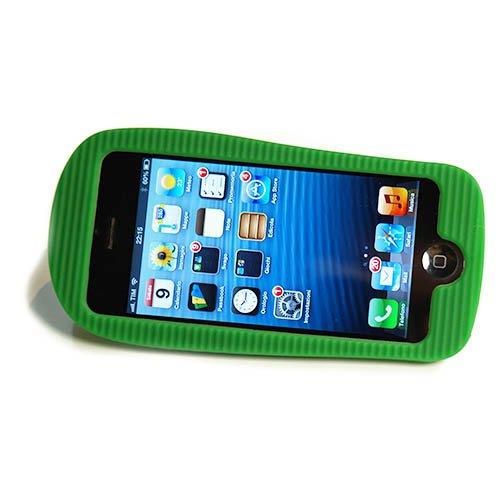 FLIP HÜLLE FÜR IPHONE 4 und 4S - HANDY WEICH COVER CASE - FLIP-FLOPS PANTOFFEL SUNDALEN - ROT Grün
