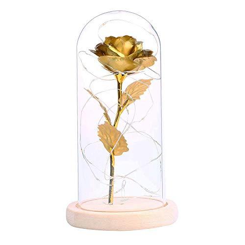 TOOGOO Sch?nheit & Das Biest Vergoldete Rose Mit Led Licht In Glas Kuppel Fuer Hochzeitsfest Muttertags Geschenk Golden - Dome Led-licht Weg