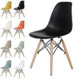 OCHS Hochwertiger Eames-inspirierter Eiffel-Retro-DSW-Kunststoffstuhl fürs Esszimmer, Büro, Lounge, Panton Designerstuhl Schwarz