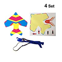 NUOBESTY Slingshot Airplane lingshot LED Light Flare Catapult Airplane Launcher Flashing Rubber Band Sling Glider Plane Kit Outdoor Toy for Kid 4pcs (Random Sticker)