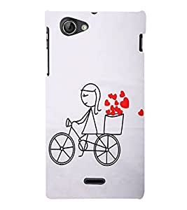 FUSON Love Card Design Cycle 3D Hard Polycarbonate Designer Back Case Cover for Sony Xperia J :: Sony Xperia J ST26i :: Sony Xperia J ST26a