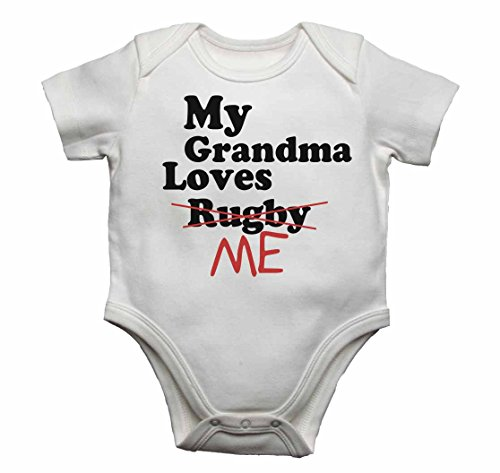 My Grandma loves me nicht Rugby–Baby Westen Bodys Baby wächst Graphic Print Design für Jungen, Mädchen–weiß–18–24Monate