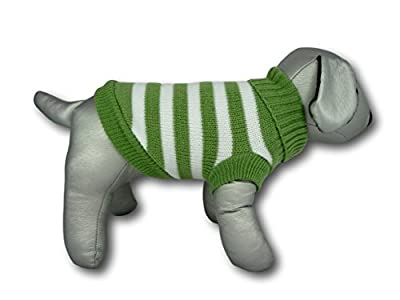 Green and White Striped Jumper Sweater (teacup to small breed dogs) - Cara Mia Dogwear
