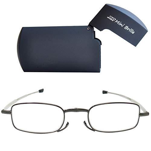 Kompakte faltbare Lesebrille aus Metall mit Teleskop-Bügeln (Graphit)| GRATIS Flip Top Etui | klappbare Faltbrille aus Metall | Lesehilfe für Damen & Herren von Mini Brille | +2.0 Dioptrien