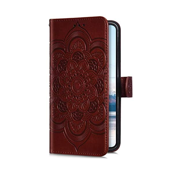 Uposao Compatible with Samsung Galaxy A50 Wallet Case Cute Mandala Flower Embossed Leather Wallet Flip Case Shockproof Protective Phone Cover with Kickstand Magnetic Card Holder,Brown Uposao Compatible Model:Samsung Galaxy A50 Package:1 x Wallet Case Cover,1 x Black Stylus Touch Pen Precision incision: Precise and Active-easily access to all ports, sensors, speakers, cameras and all Phone features.Change the volume, answer a call, charge your battery, take a picture, and listen to music without ever having to open your case 1