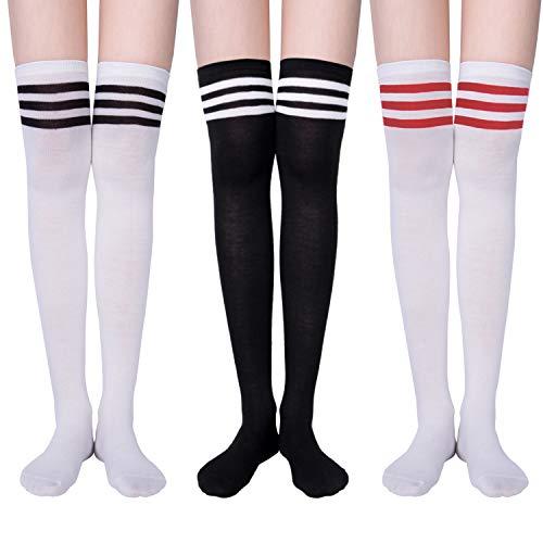YSense 3 Paar Overknee Strümpfe Kniestrümpfe Lange Damen Socken Knee High Socks - Drei Schwestern Kostüm