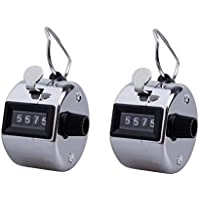 Beilala Pack of 2 Manual Tally Counter Digit Number Lap Counter Stainless Steel Hand Held Mechanical Clicker with Finger Ring Sliver
