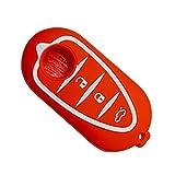 Happyit Silicone Voiture Intelligente Cas de Couverture de Clé pour Alfa Myth 159 GTO Mythe Giulietta Romeo 4C GTA-m38 3 Boutons de Télécommande (Rouge)