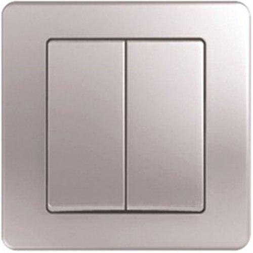 Wandschalter Wechselschalter doppelt Silber 10AX 250V (Doppel-wechsel Moderne)