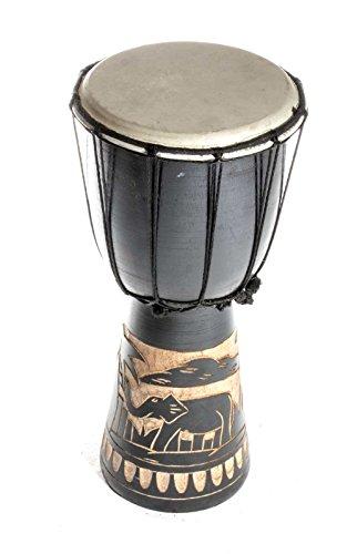 40cm Große Djembe Trommel Bongo Drum Elefant Schwarz A1