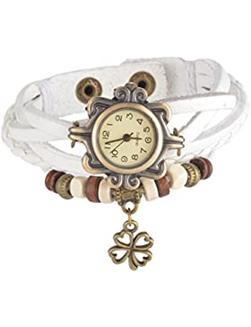 Souarts Damen Geflochten Armbunduhr Jugendliche Mädchen Armreif Uhr mit Batterie Zifferblatt Weiß