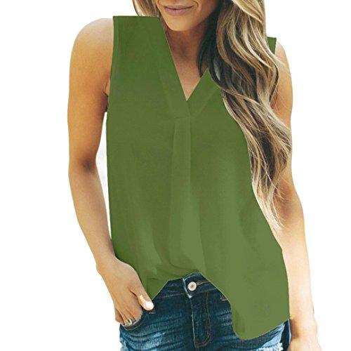 ESAILQ Frauen Sommer Cool lässiges ärmelloses gefaltetes Mehrlagen Chiffon Cami Tank Top(XXXL,Grün) - Xl Retro Bowling Shirt