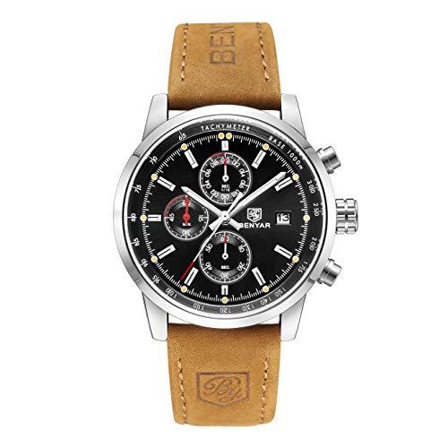Chronograph Uhren Herren Luxusmarke Wasserdicht Sport Analog Quarzuhr Männer Edelstahl Business Mode Armbanduhr Mann Runde Schwarz Uhr (Brown) -