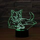 3D Luce Notturna, SUAVER 3D Optical Illusion 7 Colori Cambiano Tocco Lampada da Tavolo Decorazione Luci per Camera da Letto della Stanza di Bambini (Gatto)