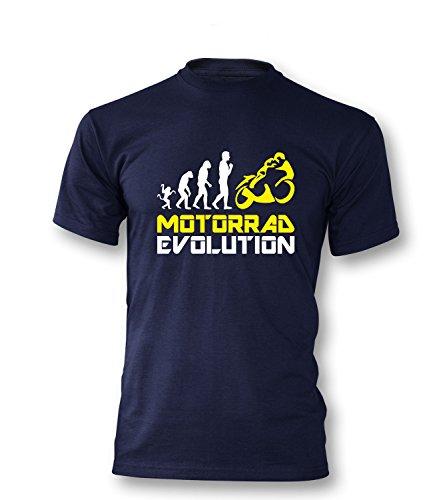 Luckja Motorrad Evolution Herren T-Shirt Navy-Weiss/Gelb Grösse L