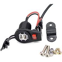 PIXNOR Moto cargador 12-24V encendedor USB de doble cargador de coche USB (negro, blanco)
