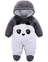 Bebé Mamelucos con Capucha Franela Ropa de Invierno Peleles con Pies Monos de Manga Larga por 0-12 Meses