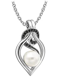 Tuscany Silver Damen-Kette 925 Sterling Silver Rund Synthetische Perle 1.6 CM
