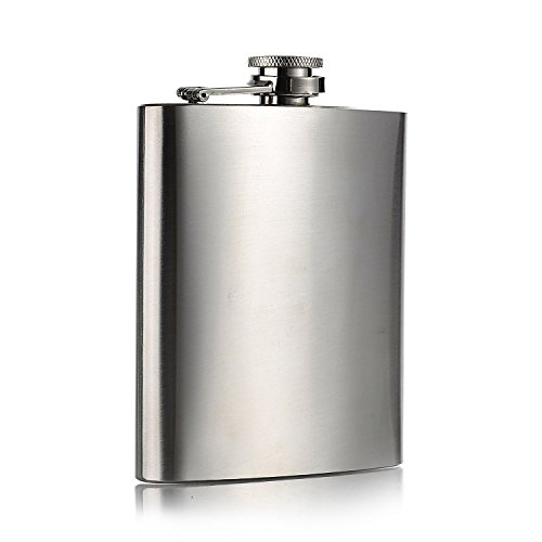 Topways® Hip Flask Stainless Steel Fiaschetta in acciaio inox con coperchio a vite per riporre Whisky/alcool Argento 7 oz 196 ml