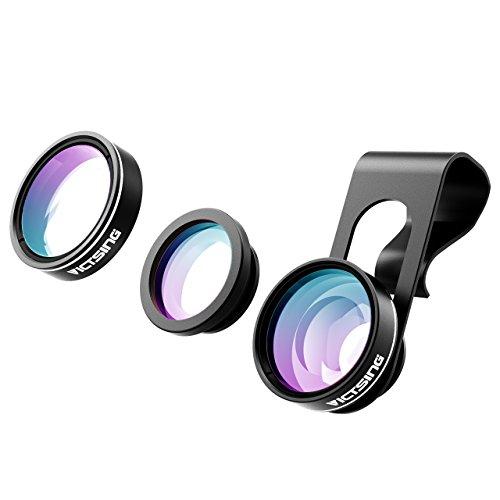 3-in-1 Lenti per Cellulari VicTsing Clip-On 180 Gradi Premium Fisheye Lente + 0,65X Wide Angle Lente + 10X Macro Micro Camera Kit Lente, per iPhone 7/6S/6 Plus/6/SE/5S/4/4S, iPad Air Mini Pro, Galaxy S7/S7 Edge/S6/S5, Huawei P9, Xiaomi HTC Sony LG Smartphone (No Circlo Oscuro da lente Fisheye), Nero-[Regalo Ottimo]