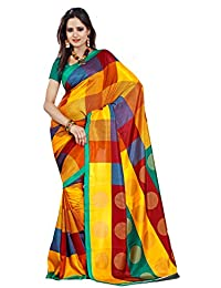 Samskruti Sarees Women's Synthetic Saree (SPAS-44_Multi-Coloured)