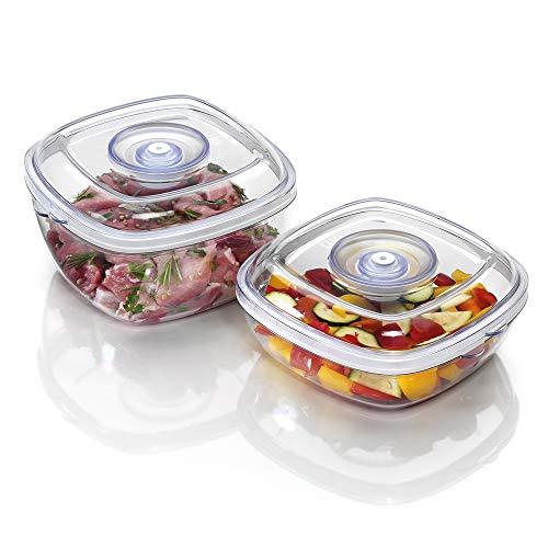Laica set da 2 alimenti sottovuoto da 1l e 2l, trasparente/nero, 1 l : 19.4 x 20 x 12 cm contenitore da 2 l : 19.4 x 20 x 8.5 cm