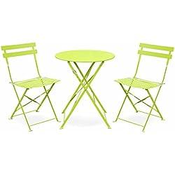 Salon de Jardin bistrot Pliable Emilia Rond Vert anis, Table ⌀60cm avec Deux chaises Pliantes, Acier thermolaqué