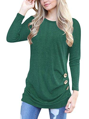 Langarm T-shirt Damen Rundhals Casual Oberteile,einfarbig,Baumwolle,mit Knöpfe Grün