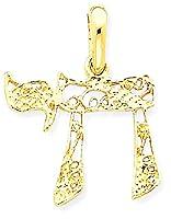IceCarats 14k Yellow Gold Filigree Chai Necklace Pendant Charm