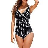 Fossen Bikinis Mujer 2019 Push up con Relleno - Tallas Grandes Brasileños Bañador con Lunar - Traje de Bañorayas - Ropa de baño de una Pieza