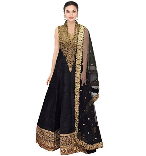 Caffoy Cloth Company Women's Black Color Bangalori Silk Designer Embroidered New Arrive Anarkali Salwar Suit For Wedding.