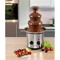 Edelstahl Schokoladenbrunnen mit extra glatten Kaskaden zum Dippen diverser Früchte und Gebäck inkl. tiefer Auffangschale