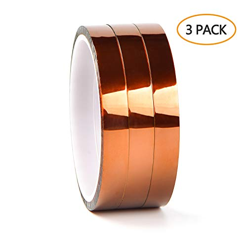 LABOTA 3 Pcs Kapton Tape Hohe Temp Klebeband 3D Drucker Hitzebeständiges Tape Polyimid Elektronik Isolierband,12MM x 30M